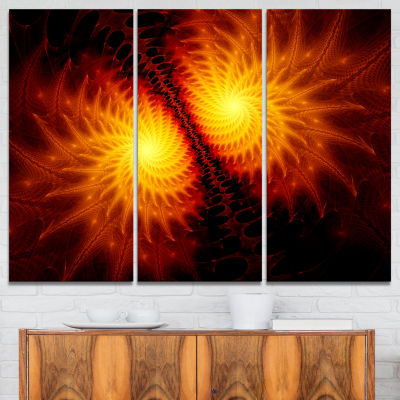Designart Fiery Wings Of Dragon Abstract Canvas Art Print - 3 Panels