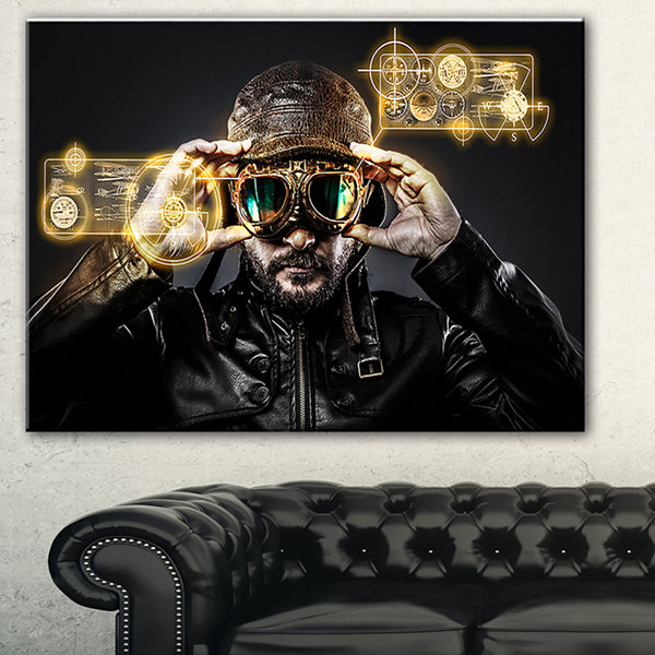 Designart Fighter Pilot With Hat And Glasses Abstract Portrait Canvas Print - 3 Panels