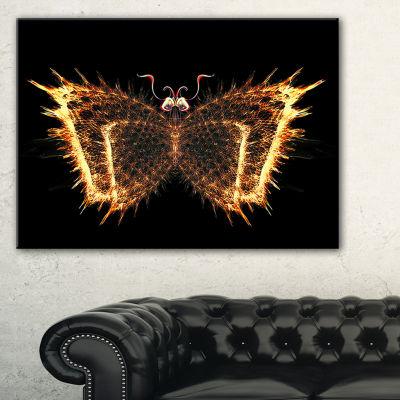 Designart Fire Fractal Butterfly In Dark AbstractCanvas Art Print - 3 Panels