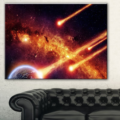 Designart Fire From Planets Spacescape Canvas ArtPrint