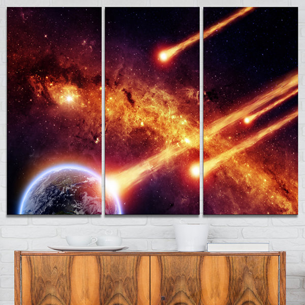 Designart Fire From Planets Spacescape Canvas ArtPrint - 3 Panels