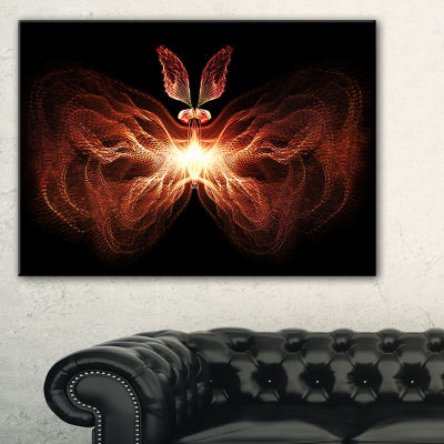 Designart Fire In Middle Fractal Butterfly Abstract Canvas Art Print - 3 Panels