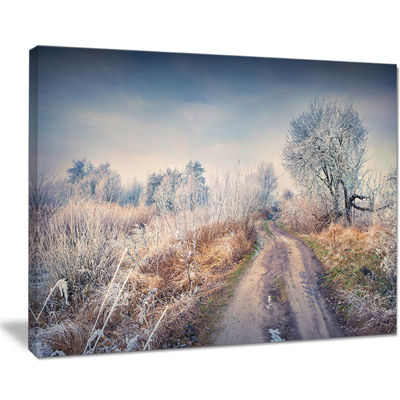 Designart First Frost In Forest Landscape Photography Canvas Art Print