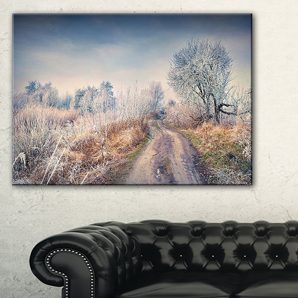 Design Art First Frost In Forest Landscape Photography Canvas Art Print