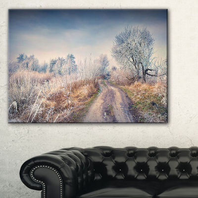 Designart First Frost In Forest Landscape Photography Canvas Art Print - 3 Panels