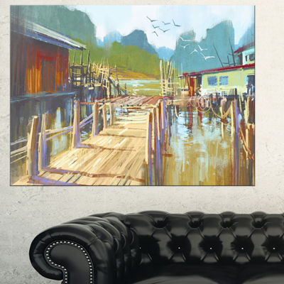 Designart Fishing Village In Summer Landscape Painting Canvas Print