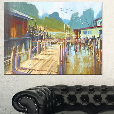 Designart Fishing Village In Summer Landscape Painting Canvas Print - 3 Panels
