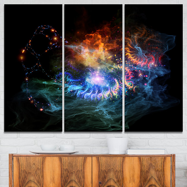 Designart Flame Lights Of Network Abstract CanvasArt Print - 3 Panels