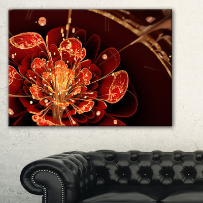 Designart Flower With Red Golden Petals Floral ArtCanvas Print - 3 Panels