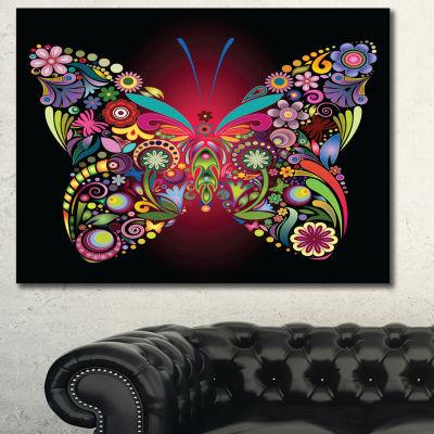 Designart Flowers And Butterflies Floral Art Canvas Print