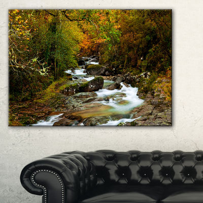 Designart Flowing River In Autumn Landscape Photography Canvas Print - 3 Panels
