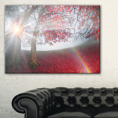 Designart Foggy Forest After Heavy Storm LandscapePhotography Canvas Print - 3 Panels