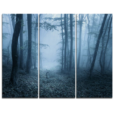 Designart Foggy Spring Forest Landscape Photography Canvas Art Print - 3 Panels
