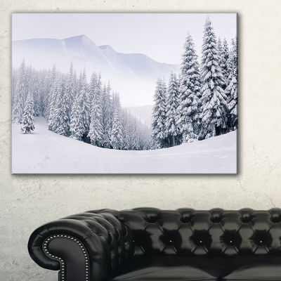Designart Foggy Winter Mountain And Trees Landscape Photography Canvas Print