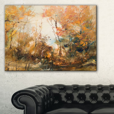 Designart Forest In Autumn Oil Painting LandscapePainting Canvas Print