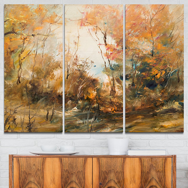 Designart Forest In Autumn Oil Painting LandscapePainting Canvas Print - 3 Panels
