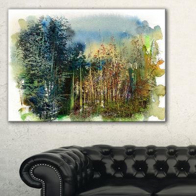 Designart Forest Motif Watercolor Landscape Painting Canvas Print - 3 Panels