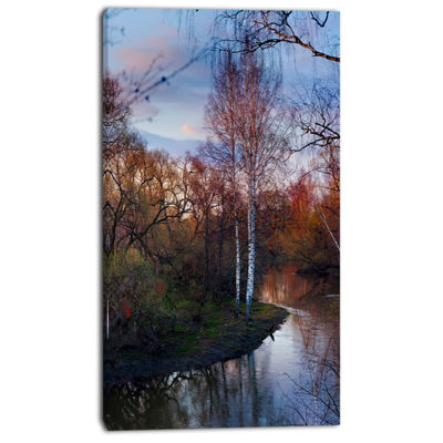 Designart Forest River In The Spring Landscape Photo Canvas Art Print