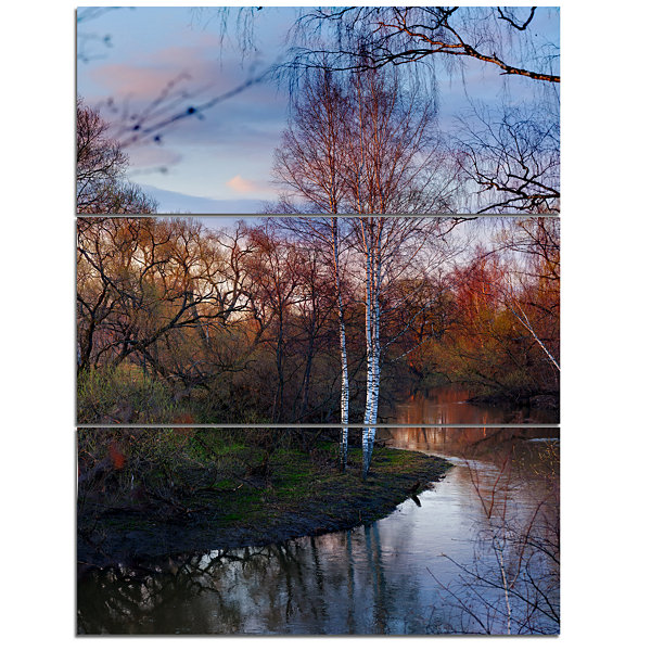 Designart Forest River In The Spring Landscape Photo Canvas Art Print - 3 Panels