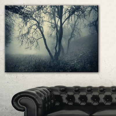Designart Forest With Green Fog In Morning Landscape Photography Canvas Print - 3 Panels
