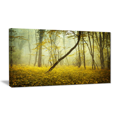 Designart Forest With Yellow Flowers Landscape Photography Canvas Print