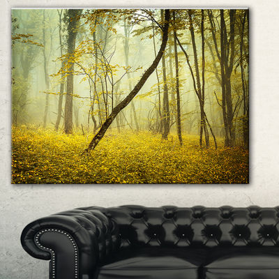 Designart Forest With Yellow Flowers Landscape Photography Canvas Print - 3 Panels