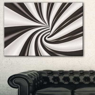 Designart Fractal 3D Black N White Tunnel AbstractCanvas Art Print - 3 Panels