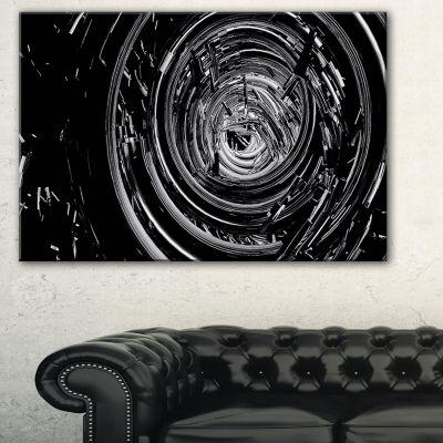Design Art Fractal 3D Black Whirlwind Abstract Canvas Art Print