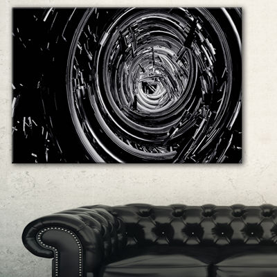 Designart Fractal 3D Black Whirlwind Abstract Canvas Art Print - 3 Panels