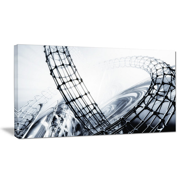 Designart Fractal 3D Black White Design AbstractCanvas Art Print