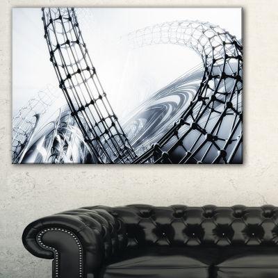 Designart Fractal 3D Black White Design AbstractCanvas Art Print - 3 Panels
