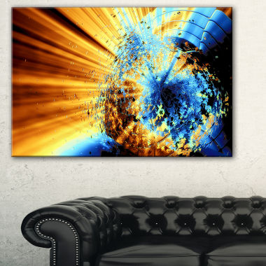 Designart Fractal 3D Blue Brown Burst Abstract Canvas Art Print