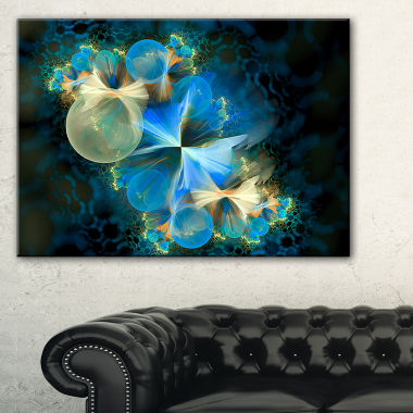Designart Fractal 3D Blue Bubbles Abstract CanvasArt Print