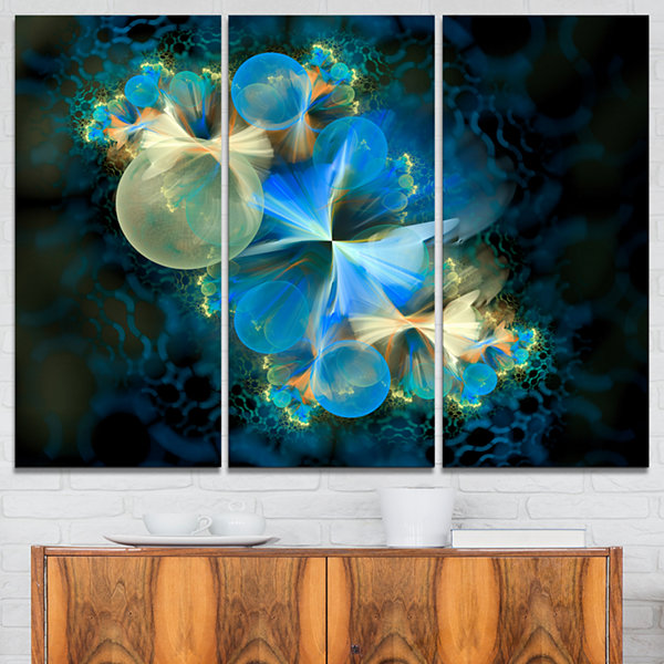 Design Art Fractal 3D Blue Bubbles Abstract CanvasArt Print - 3 Panels