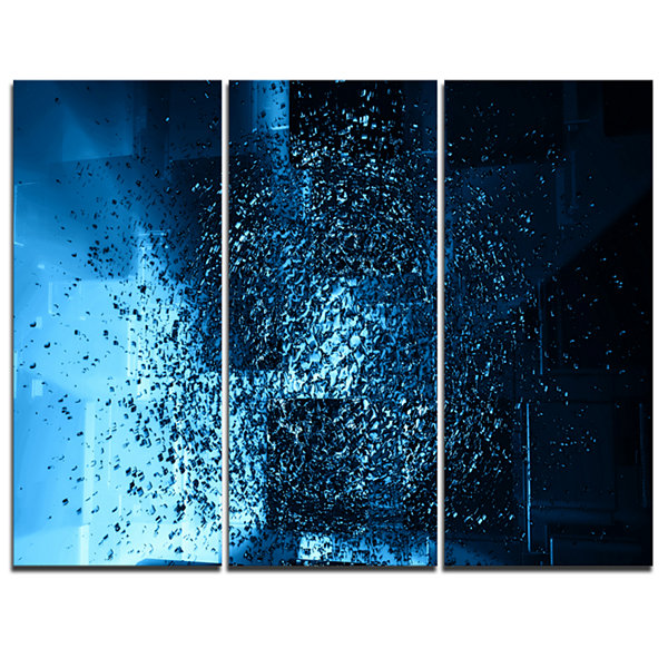 Designart Fractal 3D Blue Paint Splash Abstract Canvas Art Print - 3 Panels
