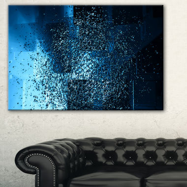 Designart Fractal 3D Blue Paint Splash Contemporary Canvas Art Print