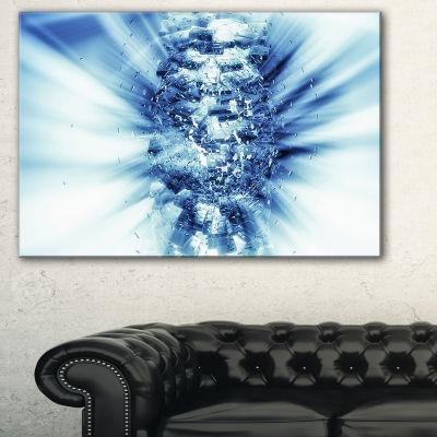 Designart Fractal 3D Blue Splash Burst Abstract Canvas Art Print - 3 Panels