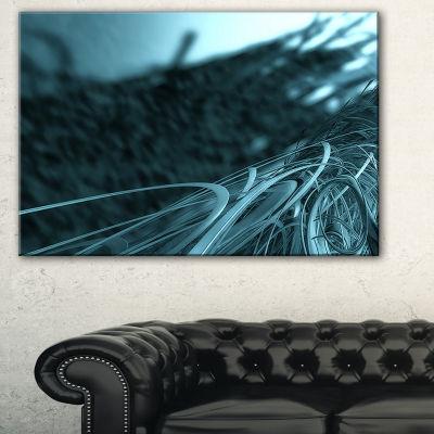 Designart Fractal 3D Bottom Stripes Abstract Canvas Art Print - 3 Panels