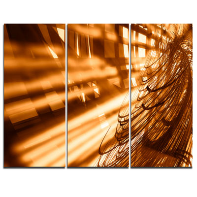 Designart Fractal 3D Brown Bold Tangle Abstract Canvas Art Print - 3 Panels