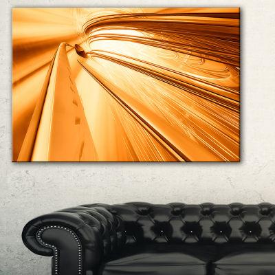 Designart Fractal 3D Brown Stripes Abstract CanvasArt Print - 3 Panels