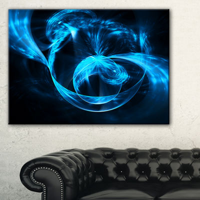 Designart Fractal 3D Circled Blue Waves AbstractCanvas Art Print - 3 Panels