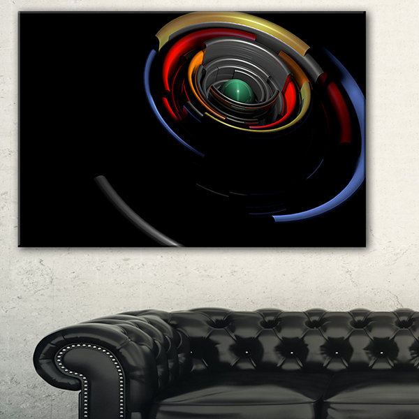 Design Art Fractal 3D Circled Stripes Abstract Canvas Art Print - 3 Panels