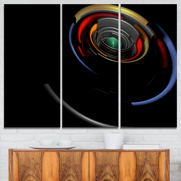 Designart Fractal 3D Circled Stripes Abstract Canvas Art Print - 3 Panels