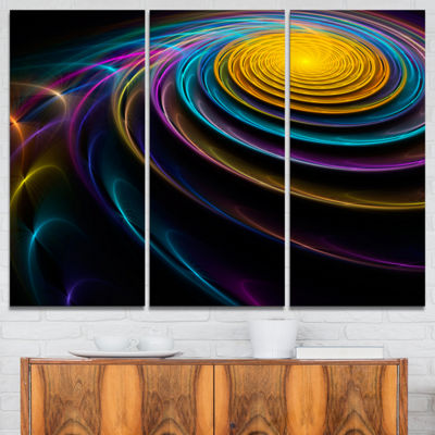 Designart Fractal 3D Colored Bulgy Circles Contemporary Canvas Art Print - 3 Panels