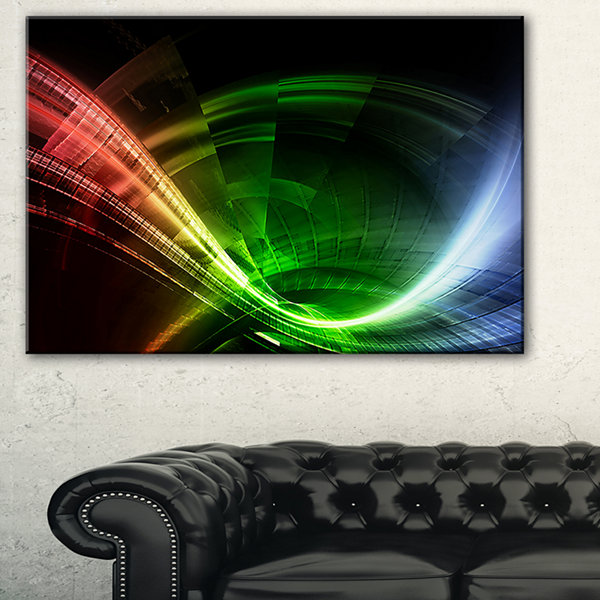 Designart Fractal 3D Colorful Tunnel Abstract Canvas Art Print