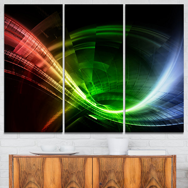 Designart Fractal 3D Colorful Tunnel Abstract Canvas Art Print - 3 Panels