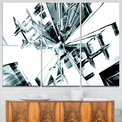 Designart Fractal 3D Cubes Everywhere Abstract Canvas Art Print - 3 Panels