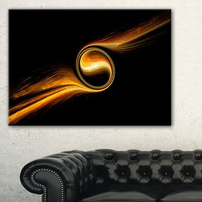 Designart Fractal 3D Dancing Yellow Design Abstract Canvas Art Print - 3 Panels