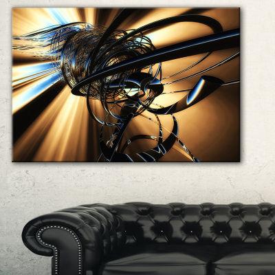 Designart Fractal 3D Dark Brown Tangle Abstract Canvas Art Print - 3 Panels