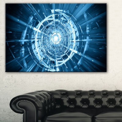 Designart Fractal 3D Deep Blue Spiral Abstract Canvas Art Print - 3 Panels